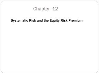Systematic Risk and the Equity Risk Premium
