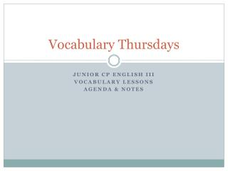Vocabulary Thursdays