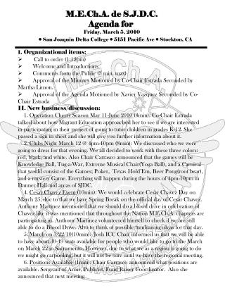 M.E.Ch.A. de S.J.D.C. Agenda for Friday, March 5, 2010