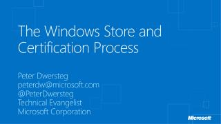The Windows Store and Certification Process