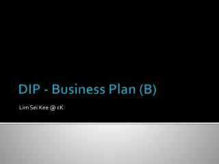 DIP - Business  Plan (B)