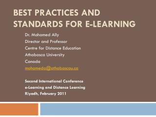 BEST PRACTICES AND STANDARDS FOR E-LEARNING