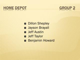 Home Depot					Group 2