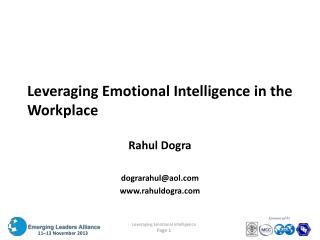 Leveraging Emotional Intelligence in the Workplace