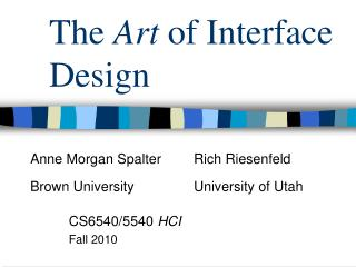 The  Art  of Interface Design