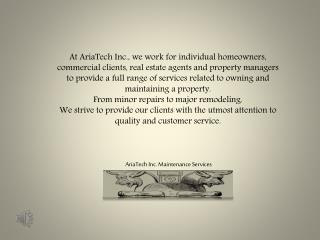 AriaTech Inc. Maintenance Services