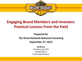Engaging Board Members and Investors: Practical Lessons From the Field