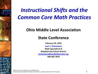 Instructional Shifts and the Common Core Math Practices
