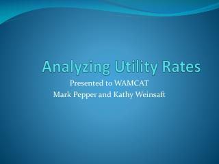 Analyzing Utility Rates