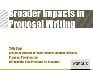 Broader Impacts in Proposal Writing
