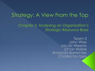 Strategy: A View From the Top Chapter 5: Analyzing an Organization's Strategic Resource Base