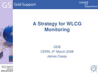 A Strategy for WLCG Monitoring