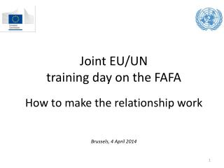 Joint EU/UN  training  day on the  FAFA How to make the relationship work