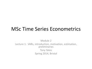 MSc Time Series Econometrics