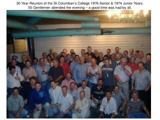 30 Year Reunion of the St Columban's College 1976 Senior & 1974 Junior Years. 55 Gentlemen attended the evening – a