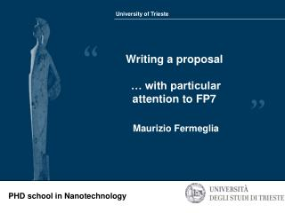 Writing a proposal … with particular attention to FP7
