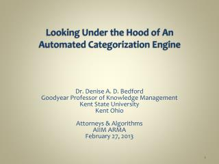 Looking Under the Hood of An  Automated Categorization Engine