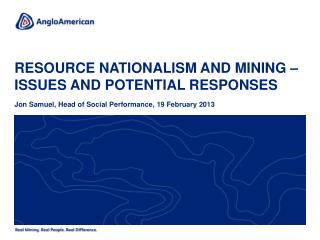 Resource nationalism and mining – issues and potential responses