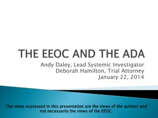 THE EEOC AND THE ADA