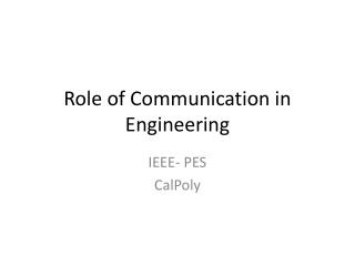Role of Communication in Engineering