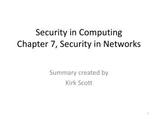 Security in Computing Chapter 7, Security in Networks