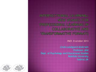 Intersectional learning :  new venues  for professional  learning in  collaborative and  transformative  formats