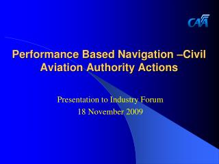 performance based navigation  civil aviation authority actions