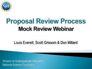 Proposal Review Process Mock Review Webinar