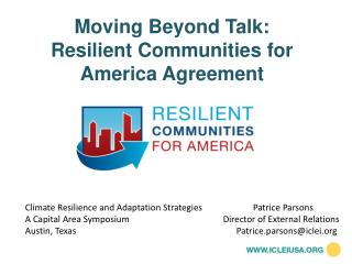 Moving  Beyond Talk:  Resilient Communities for America Agreement