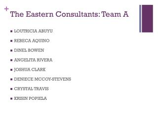 The Eastern Consultants: Team A