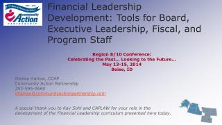 Financial Leadership Development: Tools for Board, Executive Leadership, Fiscal, and Program Staff