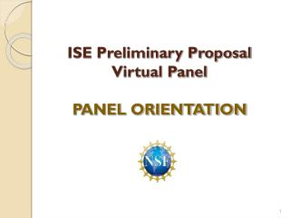 ISE Preliminary Proposal  Virtual Panel PANEL ORIENTATION