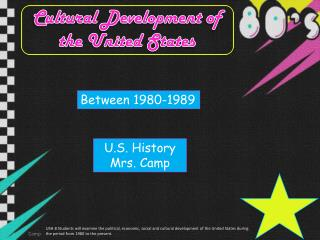 Cultural Development of the United States