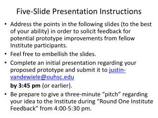 Five-Slide Presentation Instructions
