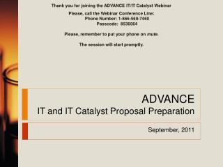 ADVANCE IT and IT Catalyst Proposal Preparation