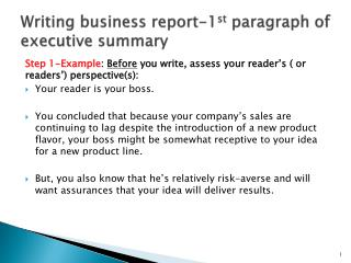 Writing  business  report-1 st  paragraph of executive summary