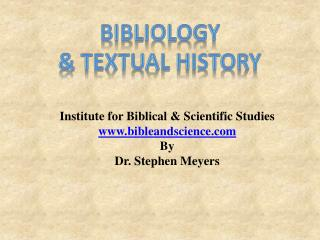 Bibliology & Textual history