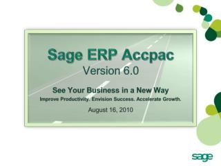 Sage ERP Accpac  Version 6.0