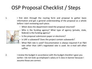OSP Proposal Checklist / Steps
