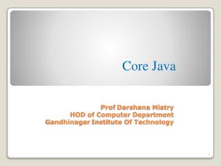 Prof  Darshana Mistry HOD of Computer Department Gandhinagar  Institute Of Technology