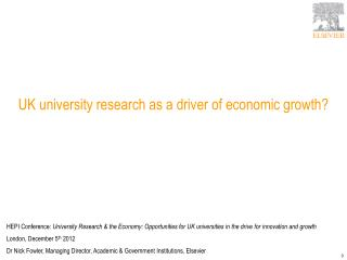 UK university research as a driver of economic growth?