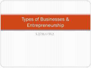 Types of Businesses & Entrepreneurship