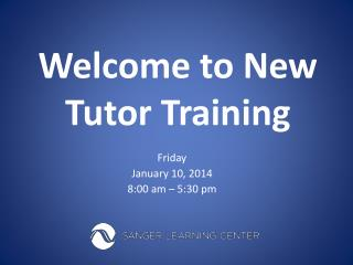 Welcome to New Tutor Training