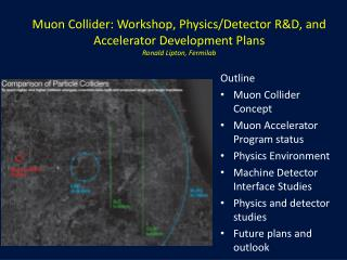 Muon  Collider: Workshop, Physics/Detector R&D, and Accelerator Development Plans Ronald Lipton, Fermilab