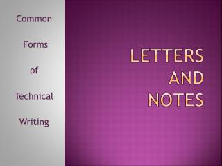 Letters and Notes