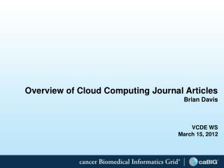 Overview of Cloud Computing Journal Articles Brian Davis VCDE WS  March 15, 2012