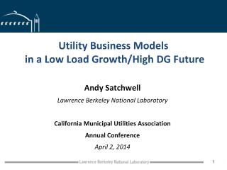 Utility Business Models  in a Low Load Growth/High DG Future