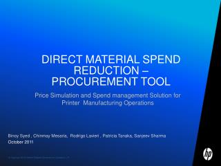 Direct material spend reduction – Procurement tool