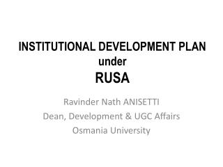 INSTITUTIONAL DEVELOPMENT PLAN under  RUSA