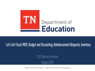 Let's Get Fiscal: PARS, Budget and Accounting, Reimbursement Requests, Inventory